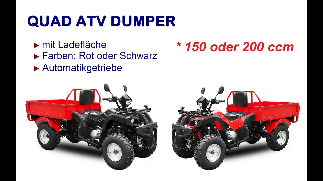 atv dumper 150 ccm automatik rot mit strassenzulassung youtube. Black Bedroom Furniture Sets. Home Design Ideas