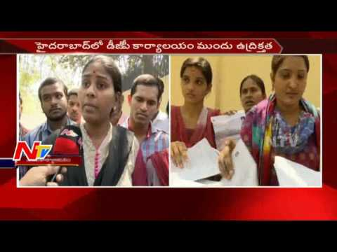 Constable Candidates Protest at DGP Office over Exam Results || Hyderabad || NTV