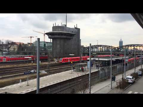 Munich Main Train Station yard scenes and time-lapse. München Hauptbahnhof