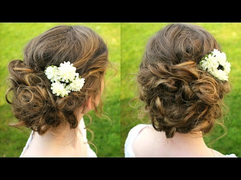 How To Curly Boho Updo Hair Tutorial