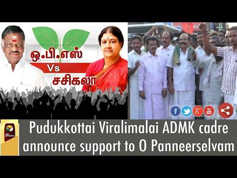 Pudukkottai Viralimalai ADMK cadre announce support to O Panneerselvam