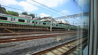 """E657系 特急「ときわ」 上野駅発車の車窓と車内風景 Limited express """"Tokiwa"""", Departure from Ueno station (2018.4)"""