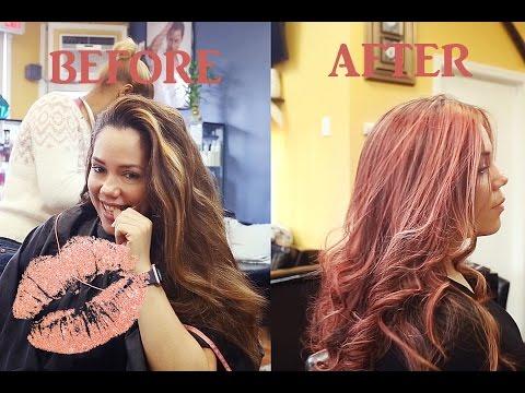 Dark To Rose Gold Hair Highlights Pink On Vlog