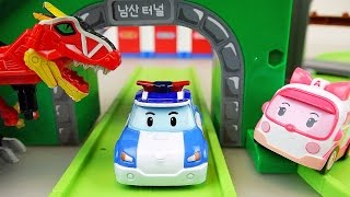 Dinosaur and Robocar Poli car toys playset