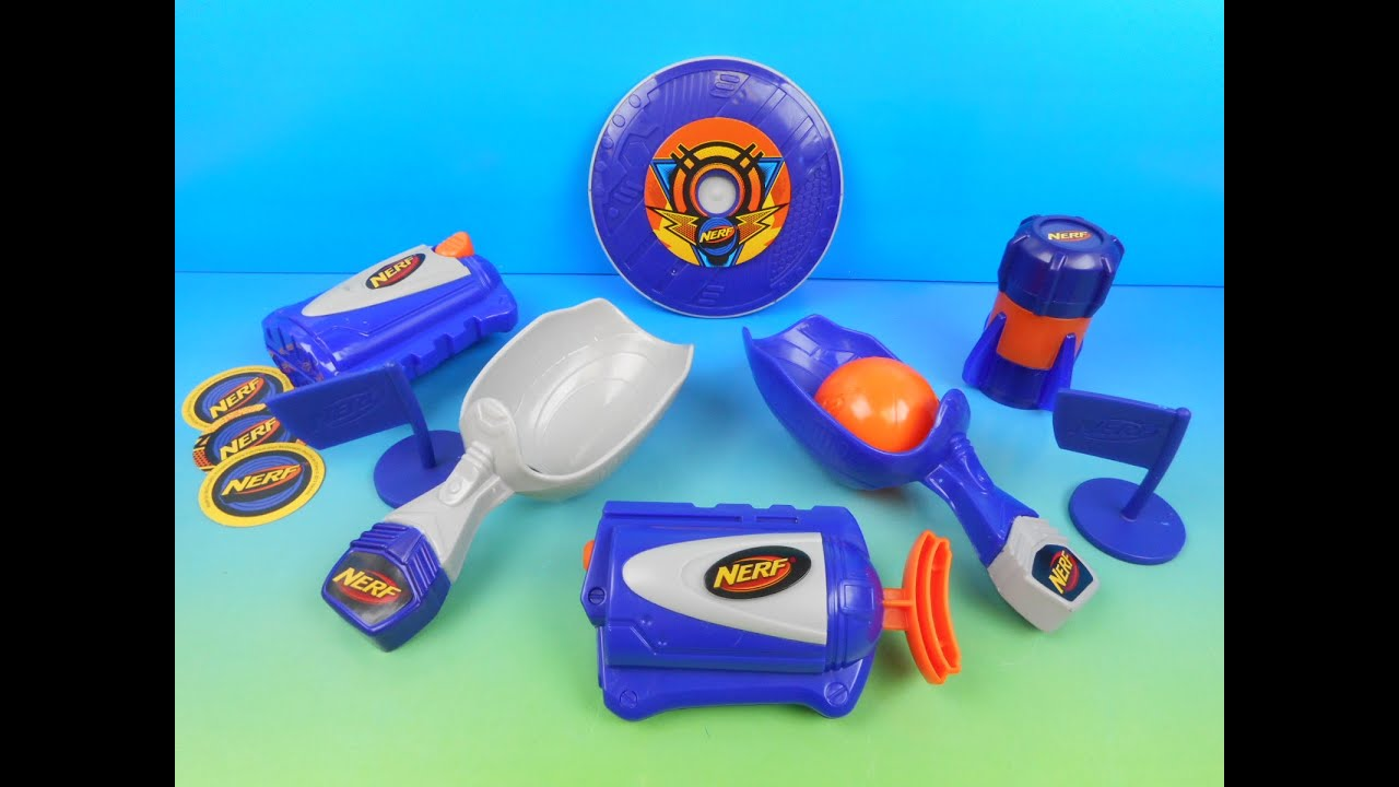 Top 10 nerf guns toy reviews for kids and parents - 2015 Nerf Set Of 5 Mcdonalds Happy Meal Kids Toys Video Review Youtube