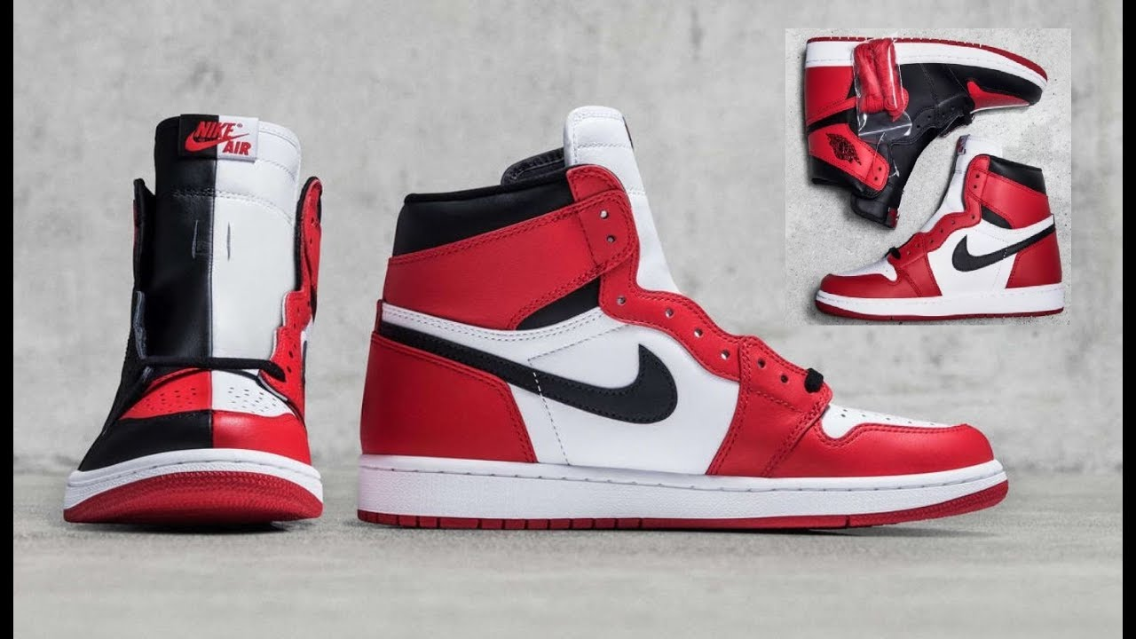 f0963e7fd46930 AIR JORDAN 1 HOMAGE TO HOME RETRO SNEAKER WITH SPLIT BRED CHICAGO COLORWAY