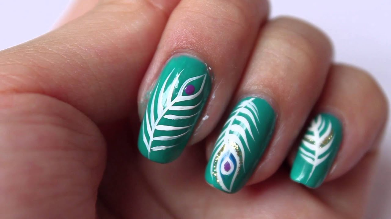 peacock feather nail art
