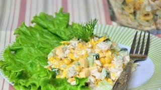 Рецепт салата с блинами и курицей