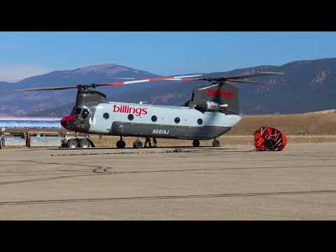 Billings Flying Service CH47D Chinook in Angel Fire, New Mexico fighting the Luna Fire 10/22/2020