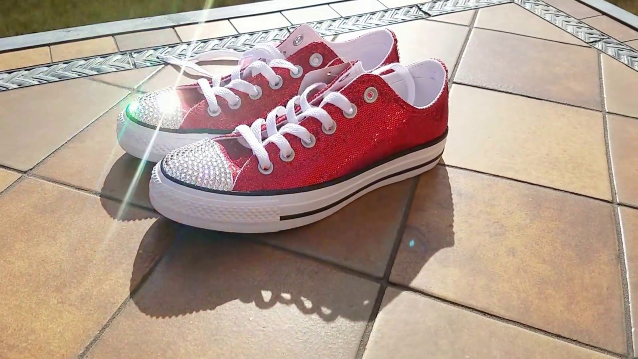 Custom Red Glitter All Star Converse with Genuine Swarovski Crystals Size 7