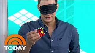 Rubik's Cube Magician Performs Amazing Tricks While Blindfolded | TODAY