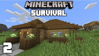 Minecraft 1.14 Survival Let's Play - Building a Starter House   Ep 2