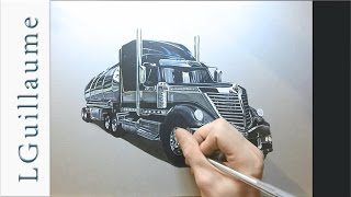 drawing time lapse - hyperrealistic art : how to draw truck