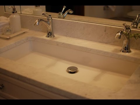 trough bathroom sink with two faucets youtube. Black Bedroom Furniture Sets. Home Design Ideas