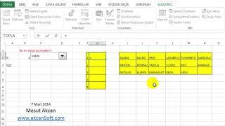 Excelde birbirine bağlı 2 açılır liste yapımı