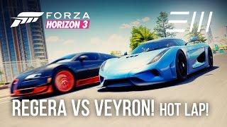 koenigsegg regera vs bugatti veyron ss hot lap battle   forza horizon 3