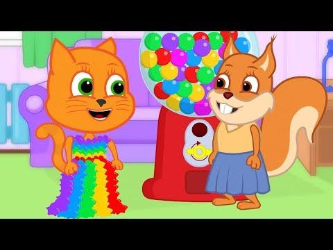 familia-de-gatos---vestido-de-arco-íris-de-la-máquina-gumball-dibujos-animados-para-niños