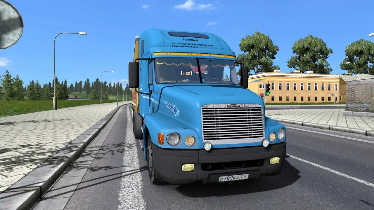 ETS 2, Рейс Смоленск-Санкт-Петербург на Freightliner ...
