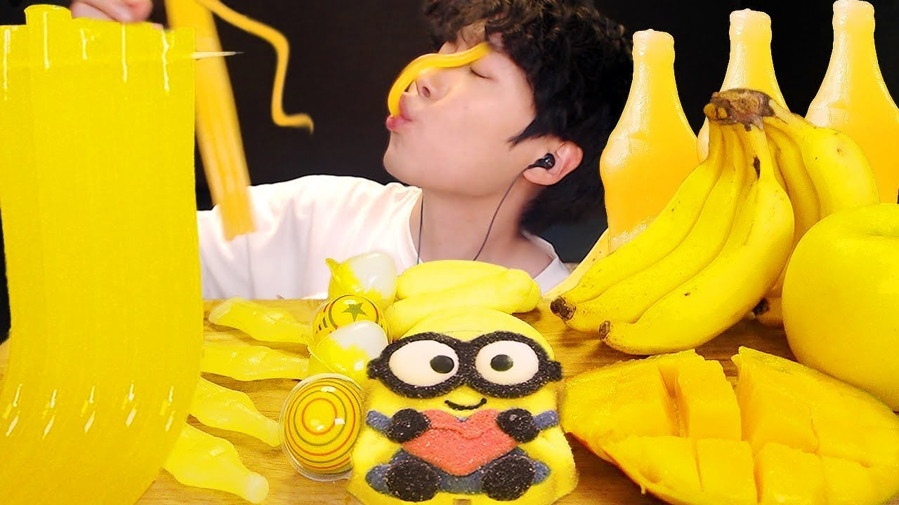 MUKBANG 💛 다양한 노란색 디저트 먹방 Yellow food NOODLE, NIK-L-NIP, BANANA EATING SOUND - sio asmr 시오
