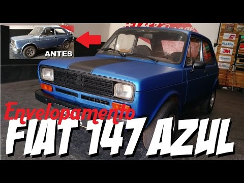 Envelopamento Fiat 147 Azul Metalico Jateado Antes E Depois