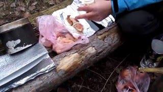 Куриное филе в беконе на природе.