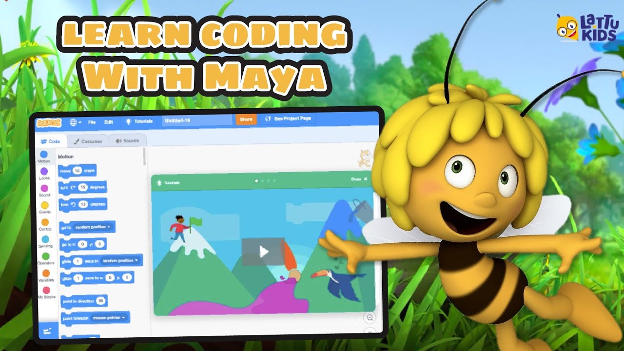 Introduction to Coding! Learn coding with Maya the bee   Coding on Scratch 😍