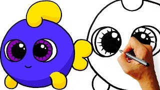 Easy! How to Draw Cute Cartoon Fish. Step by Step Art for Kids