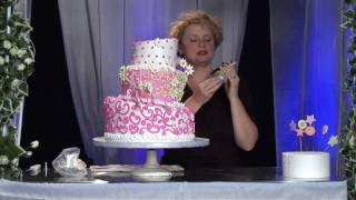Three-Tier Whimsical Wedding Cake Design : Wedding Cake: Attach Topper Using Dowel