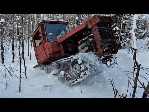 ДТ75 на японском V8 300сил в глубоком снегу!