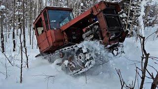 ДТ75 на японском V8 300сил в глубоком снегу