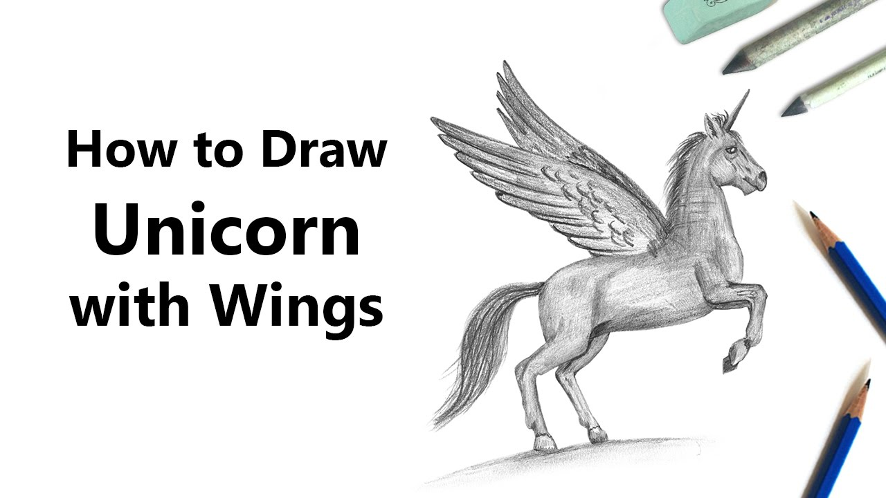 How to draw a unicorn with wings in stages 52
