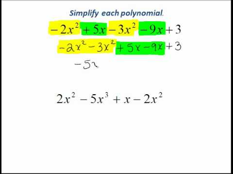 Simplifying Polynomial Expressions By Combining Like Terms