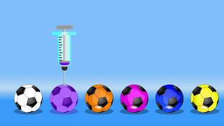 Learn Colors with Soccer Balls Injection Syringe for Kids || Kids  Learning Videos
