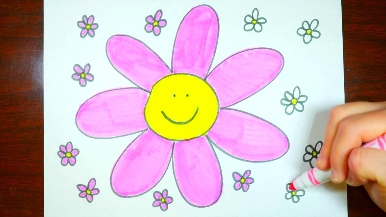 How to draw pink flowers kids coloring video cute youtube youtube premium mightylinksfo