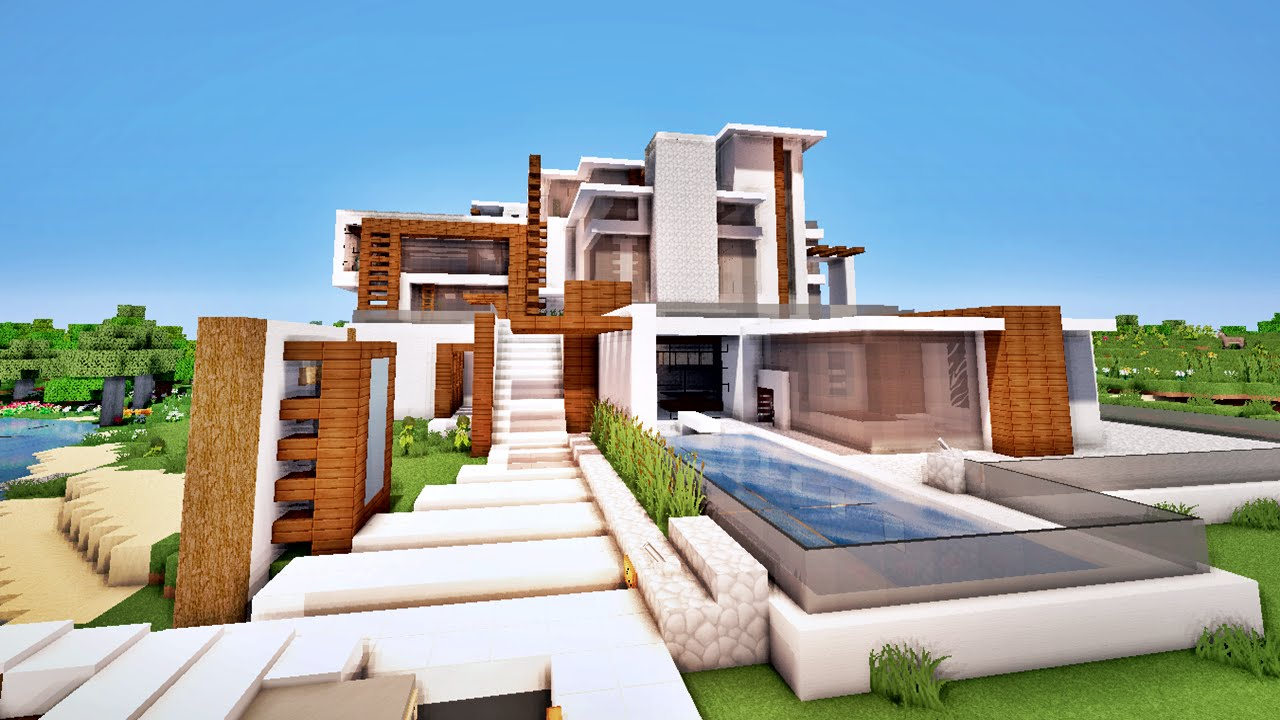 Minecraft maison moderne avec quai priv map youtube for Plan maison minecraft moderne