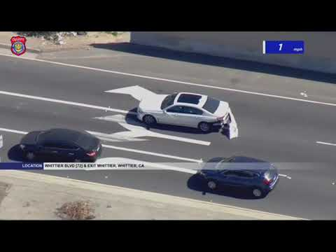 Police Chase Stolen Car Suspect In Whittier, California - February 25, 2021