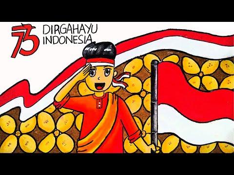 Cara Menggambar Dan Mewarnai Poster Tema 17 Agustus 2020 Hut Ri 75 Tahun Kemerdekaan Ri Ep 211 Youtube