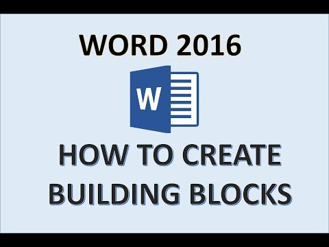 Word 2016 - Building Blocks - How To Create And Copy In Quick Parts Block - Save Header & Footer MS