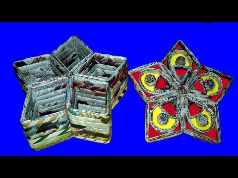 Newspaper Multi Storage Box/JewelleryBox○DIY Stationary/Desk  Organiser○Recycled Easy PaperCraft Idea