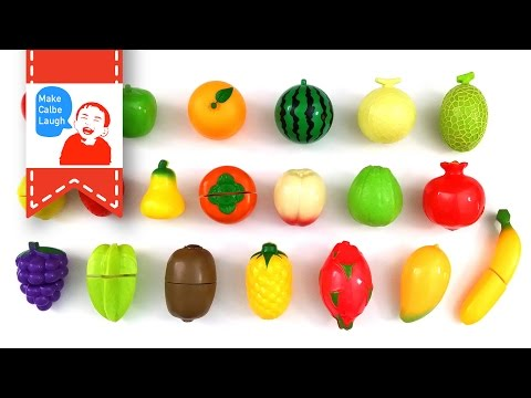 Teaching fruit to children with Velcro Fruit Toy Cutting Plastic Cooking Playset