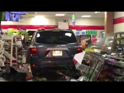 SUV plows into a 7-Eleven in Lawrence, Massachusetts