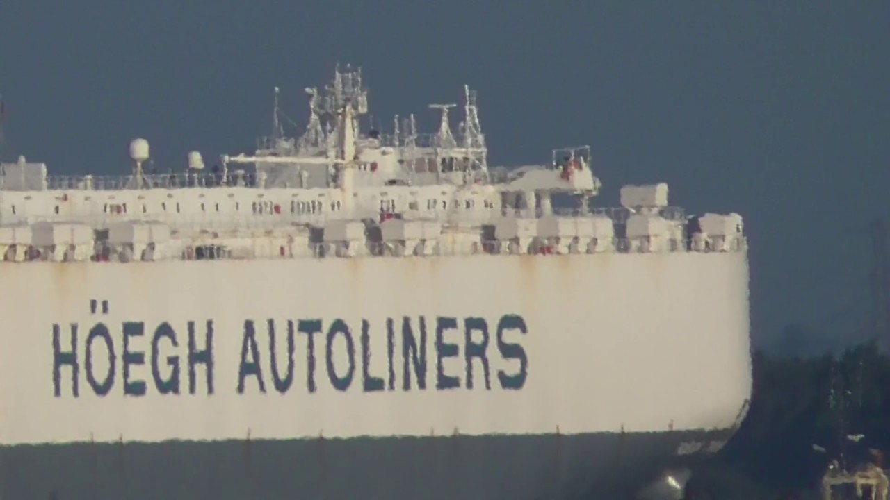The MV Faust and the MV Hoegh Trident vehicle carrier