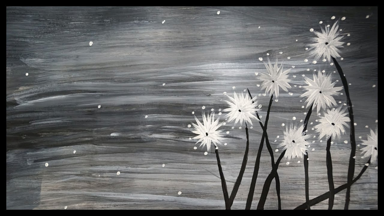Beautiful black and white flower painting water color scenery paintings