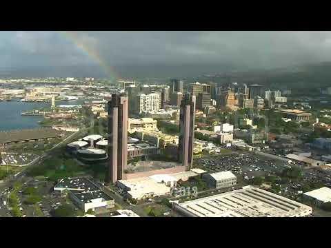 Aerial Shot of One Waterfront Towers in Honolulu, Hawaii - CBS Amazing Race/Framepool