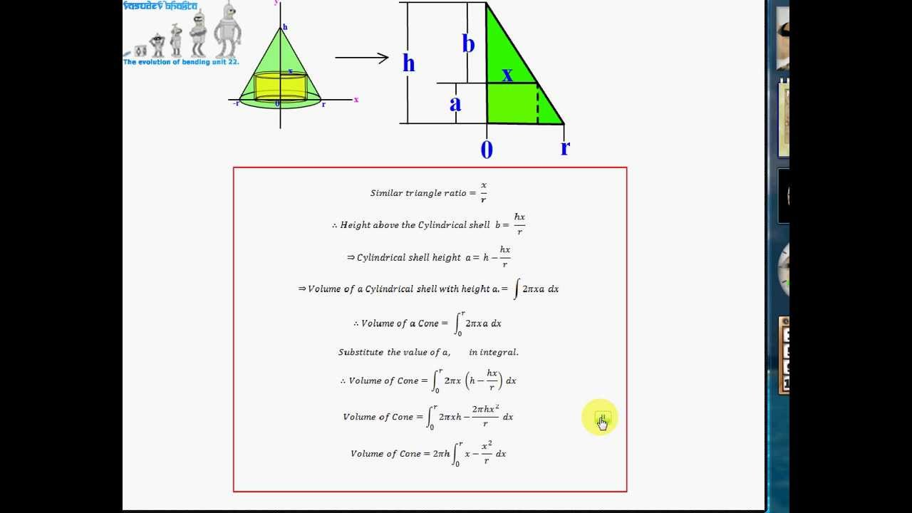 Proof Of Volume Of A Cone Calculus Method  Shells