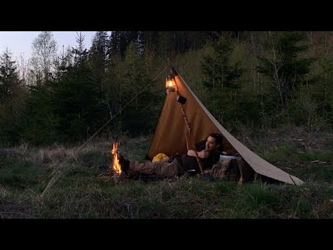 Canvas Tarp Overnighter In a Thunder Storm - Bushcraft Wood Container - Hamburguers