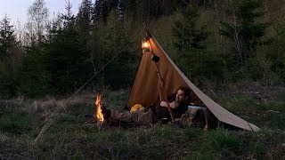 Thunder Storm Overnighter In a Canvas Tarp   - Bushcraft Wood Container - Hamburgers