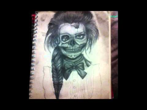 Step By Step Drawing Of Half Skull Half Women Drawing Youtube