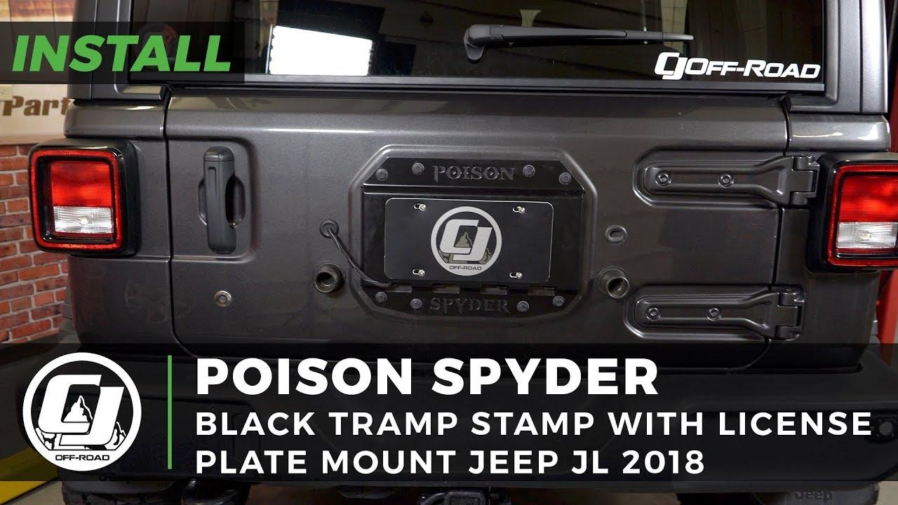 Jeep Wrangler JL Poison Spyder Black Tramp Stamp With A License Plate Mount