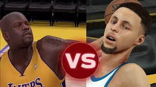 can steph curry hit a full court shot before shaq can hit a three pointer nba 2k17